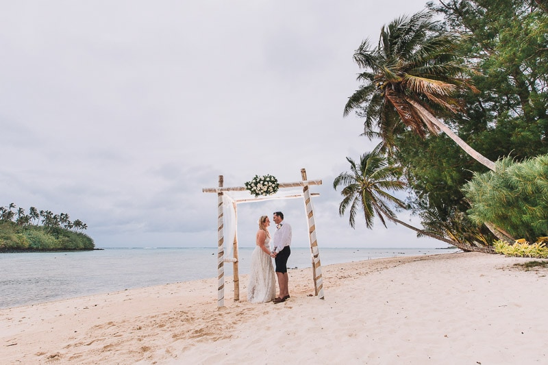 Rarotonga island destination wedding photo of Bec and Mel