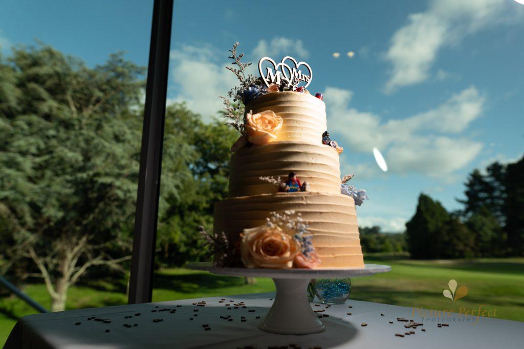 Wellington wedding photographer with a wedding cake