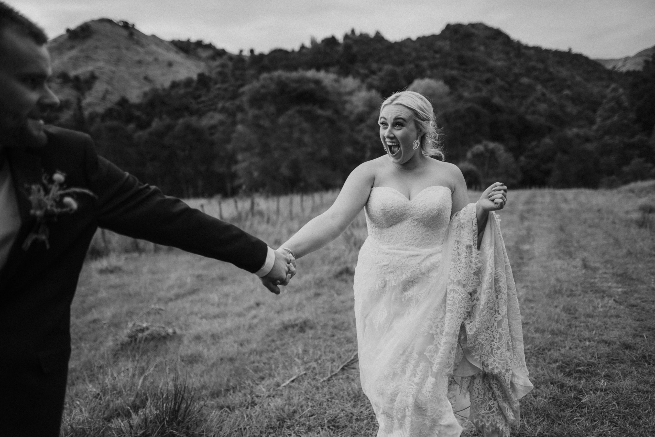New Zealand photographer Binh capturing this wedding moment in black and white