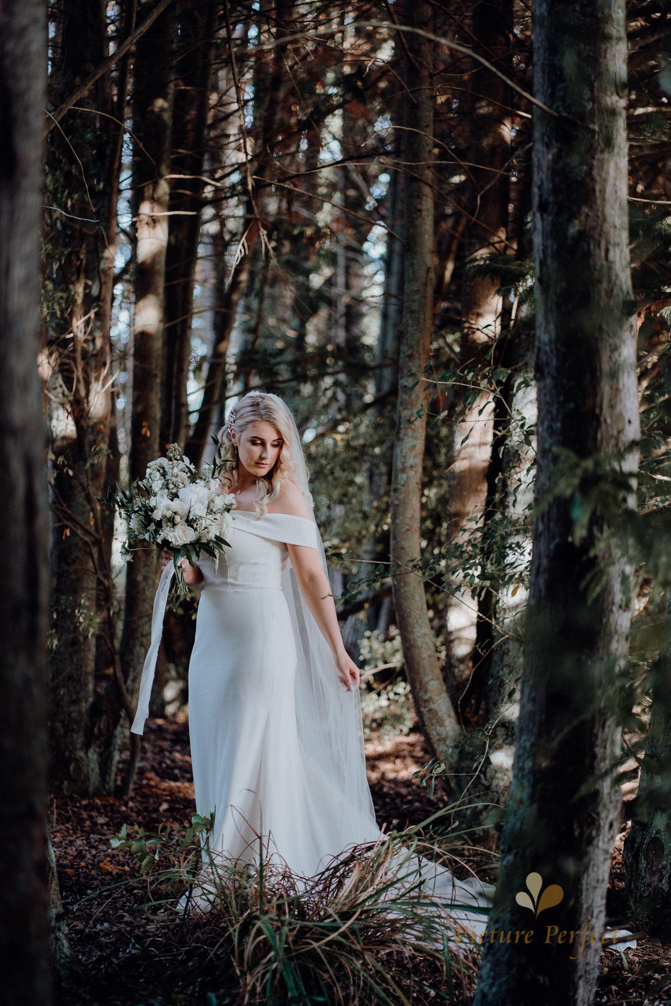 bride wearing an elegant white dress