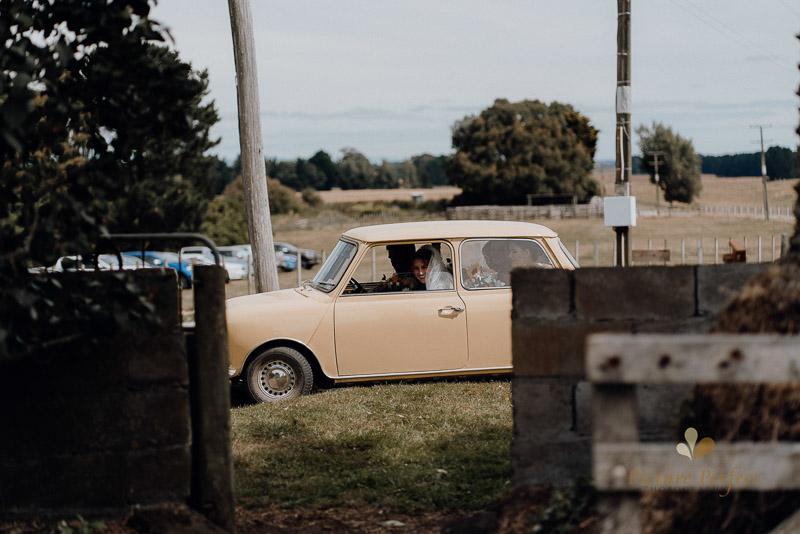 a mini as a perfect wedding car for a farm wedding