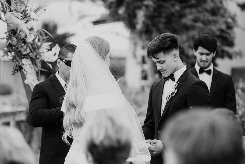 praying time during an intimate wedding ceremony in Matamata