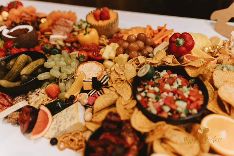 a stunning grazing table at a low key wedding reception