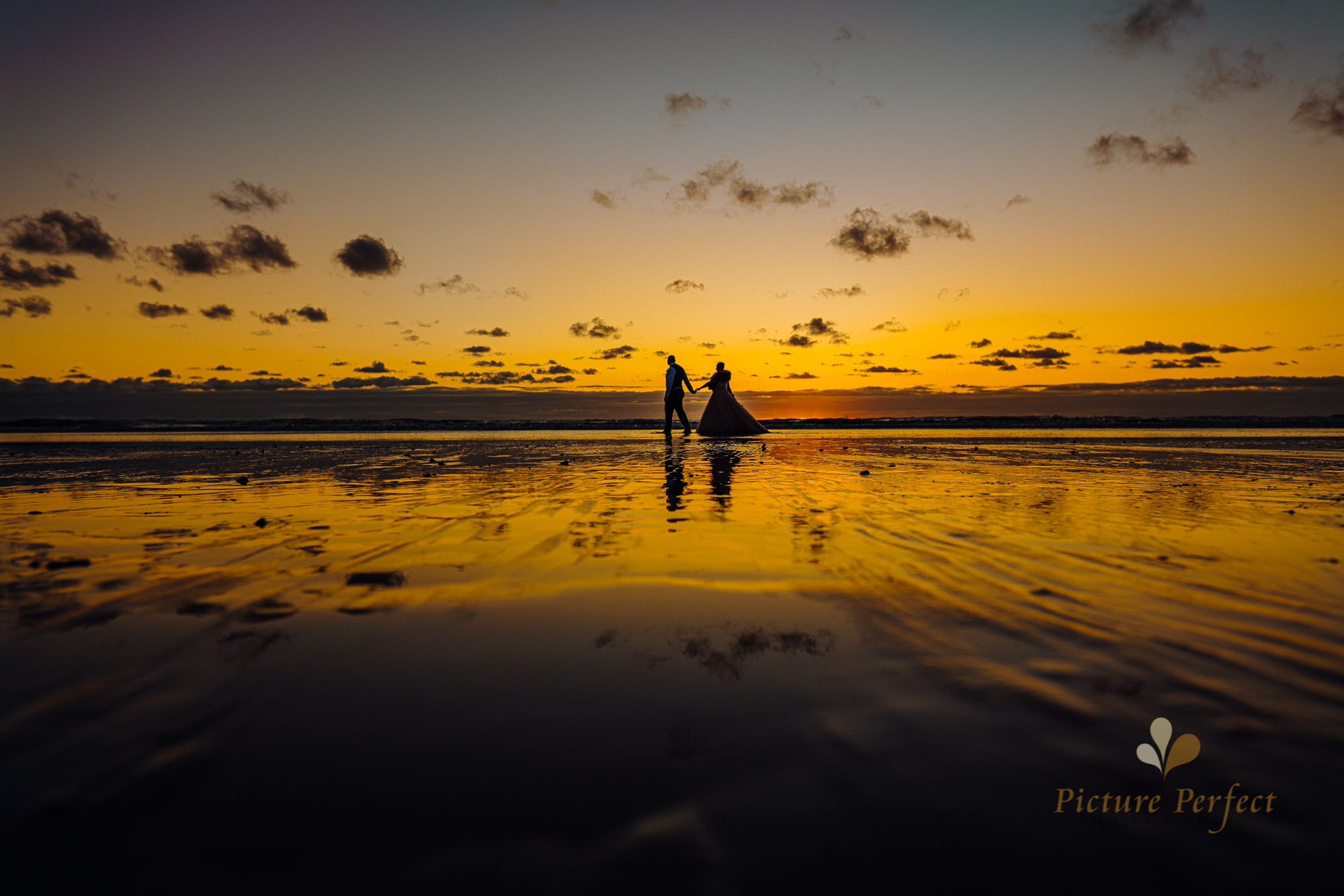 Palmerston North wedding photographer at the beach during golden hour