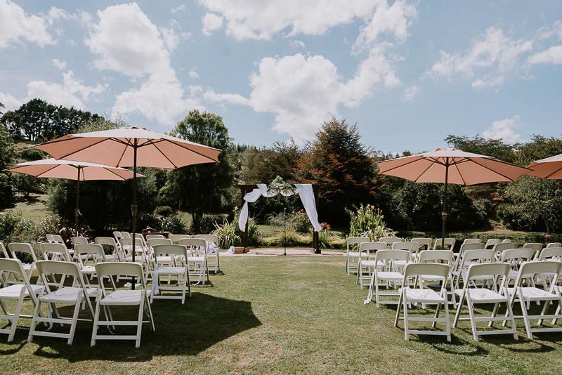 wedding chairs layed out for the Roseburn Park wedding ceremony